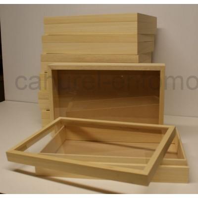 Boite vitrée en bois naturel